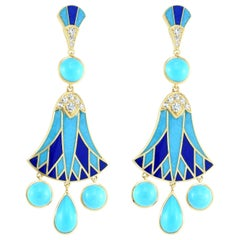Cicada Egyptian Revival Turquoise and Diamond Gold Dangle Earrings