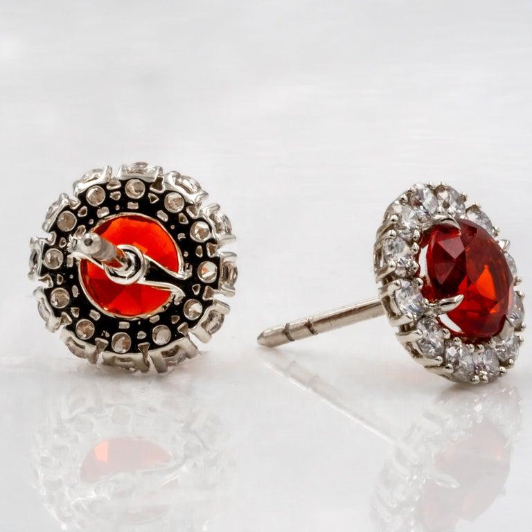 Fire Opal And Diamond Gold Stud Earrings