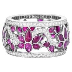 Cicada Lotus Ruby and Diamond Platinum Band Ring