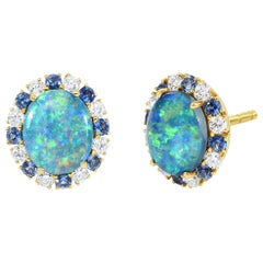 Cicada Opal, Diamond and Sapphire Gold Stud Earrings