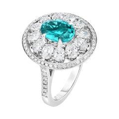 Cicada Paraiba and Diamond Platinum Ring