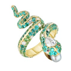 Cicada Paraiba Tourmaline, Diamond and Pearl, Gold Snake Cocktail Ring