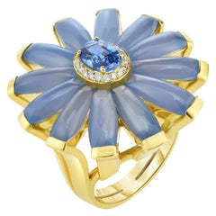 Cicada Sapphire, Calcedony and Diamond Gold Cocktail Ring