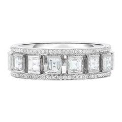 Cicada Square Diamond and Melee Diamond Platinum Band Ring