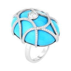 Cicada Turquoise and Diamond Platinum Cocktail Ring