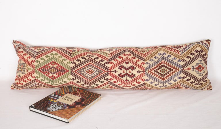 Cicim Body Pillow Fashioned from an Anatolian Cicim Kilim, 1930s In Good Condition For Sale In Istanbul, TR