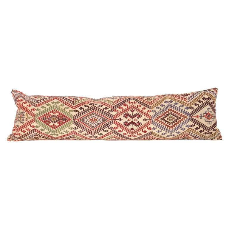 Cicim Body Pillow Fashioned from an Anatolian Cicim Kilim, 1930s For Sale