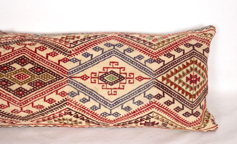 Hand-Woven Cicim Body Pillow Fashioned from an Anatolian Cicim Kilim, 1930s For Sale