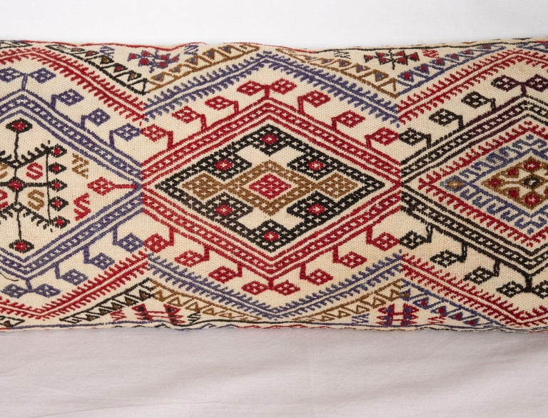 Hand-Woven Cicim Kilim Pillow Fashioned from an Anatolian Cicim Kilim, 1930s For Sale