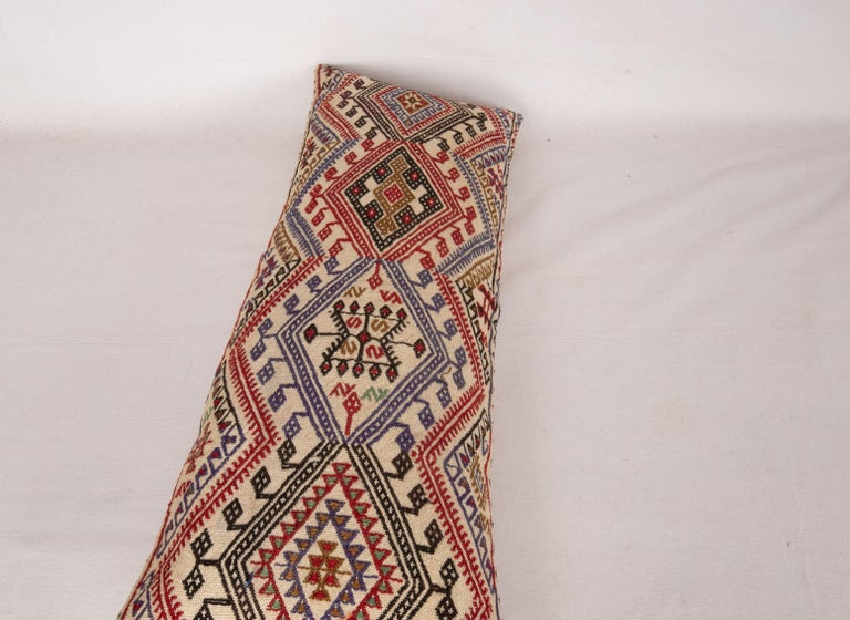 Wool Cicim Kilim Pillow Fashioned from an Anatolian Cicim Kilim, 1930s For Sale