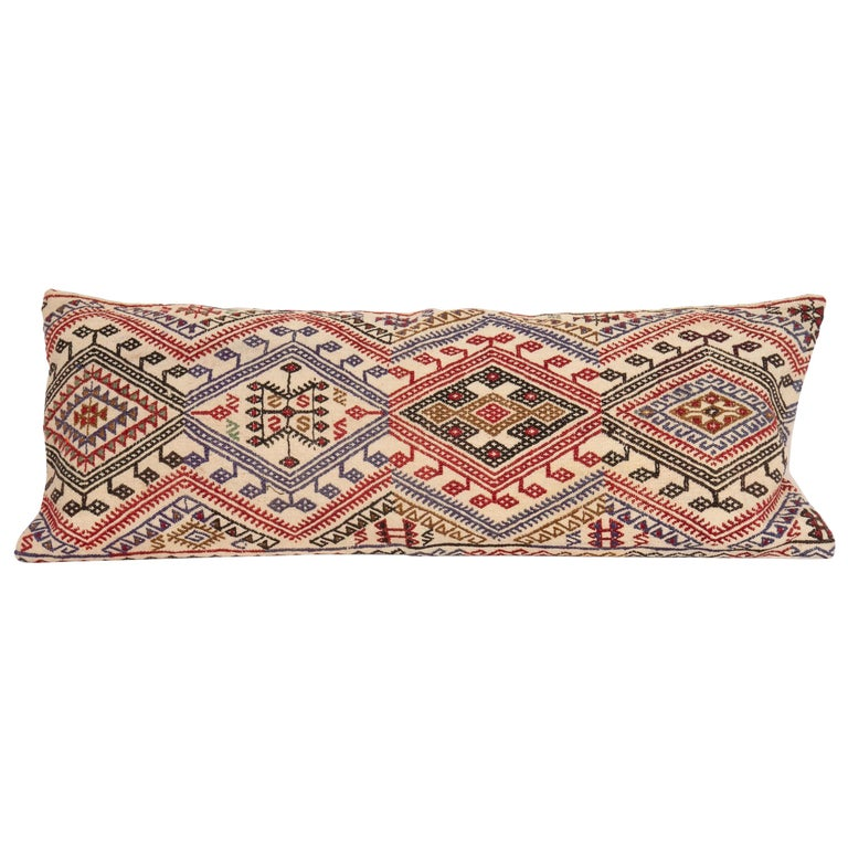 Cicim Kilim Pillow Fashioned from an Anatolian Cicim Kilim, 1930s For Sale