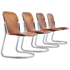 Cidue C2 Dining Chairs in Brown Leather Italy 1970