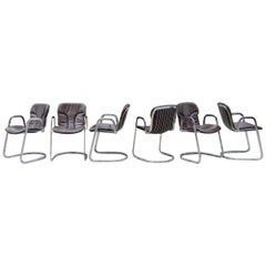 Cidue Dining Armchairs Chairs Design by Willy Rizzo Set of 6 Chrome and Leather