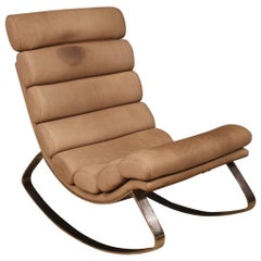 Cierre 21st Century Leather and Metal Italian Design Monet Rocking Chair, 2011
