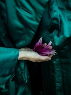 Emerald Coat with Dahlia Petal