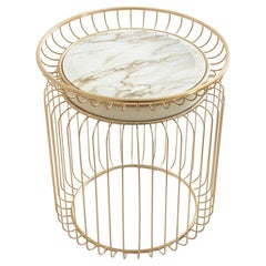 Cigala Side Table with White Marble Top