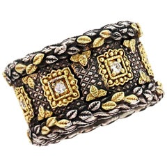 Cigar Band Sterling Silver and Gold with Diamonds Stambolian