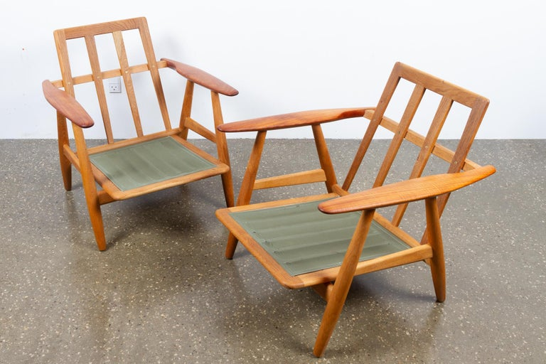 Cigar GE-240 Easy Chairs by Hans J. Wegner 1950s, Set of 2 For Sale 7