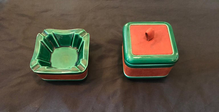 Cigar Set in Adnet and Longchamps Style Ceramic and Leather, France, 1950s For Sale 4