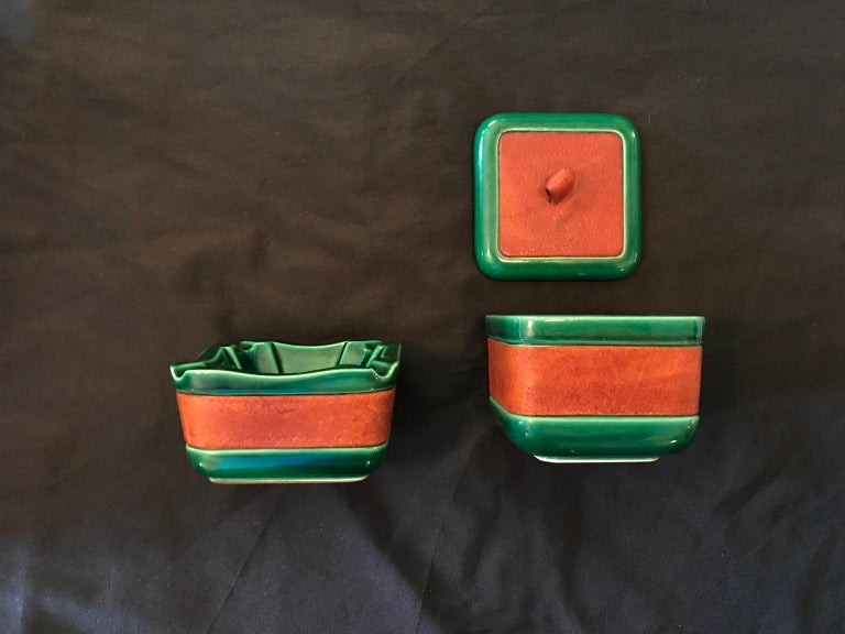Cigar Set in Adnet and Longchamps Style Ceramic and Leather, France, 1950s For Sale 1