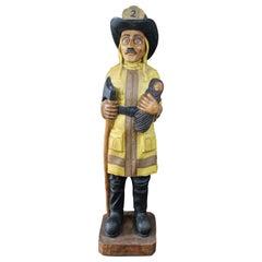 Cigar Store Life-Size Carved Fireman Figure Firefighter Sculpture Statue