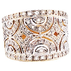 Cigar Style Diamond Band Ring 14 Karat Two-Toned Gold