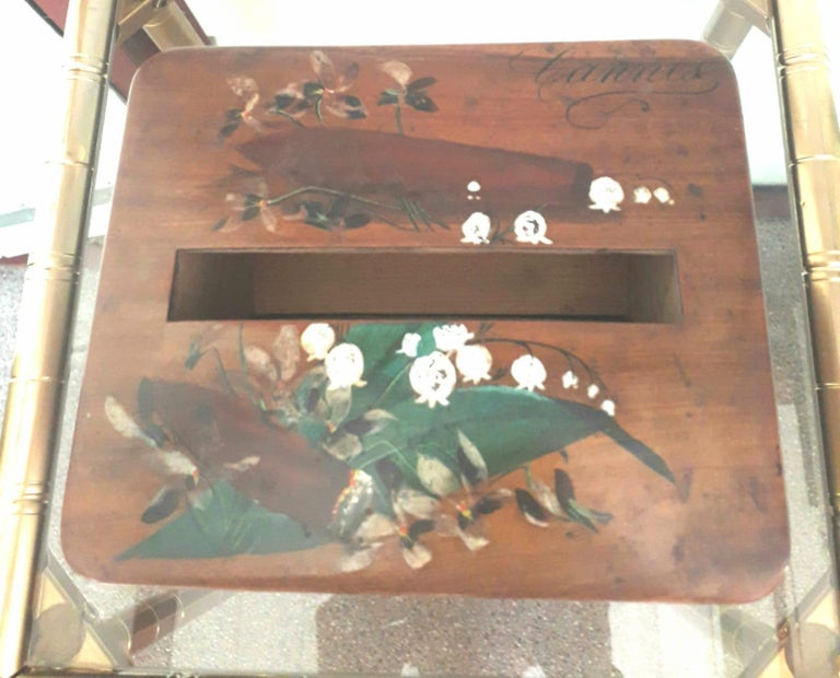 Cigar Table Box, Hand Painted Wood, France, 1940 In Good Condition For Sale In Paris, FR