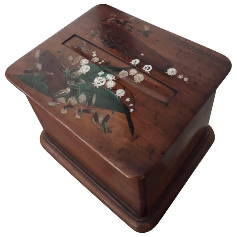 Cigar Table Box, Hand Painted Wood, France, 1940 For Sale