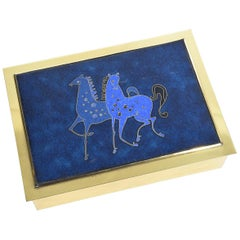 Cigarette Brass Box with Enamelled Lid and Horse Inlay 1960s, Italy