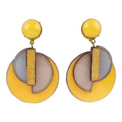 Cilea Paris Art Deco Inspired Dangle Resin Clip Earrings