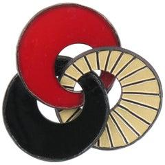 Cilea Paris Art Deco Inspired Red & Black Resin Pin Brooch