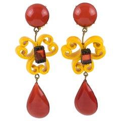 Cilea Paris Dangle Baroque Resin Clip Earrings Saffron and Pumpkin