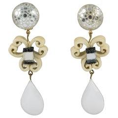 Cilea Paris Dangle Resin Clip Earrings Baroque White & Glitter