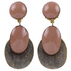 Cilea Paris Dangle Resin Clip Earrings Nude Colors