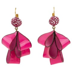 Cilea Paris Dangle Resin Pierced Earrings Hot Pink Ribbon