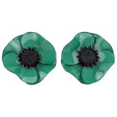 Cilea Paris Green Poppy Resin Clip Earrings