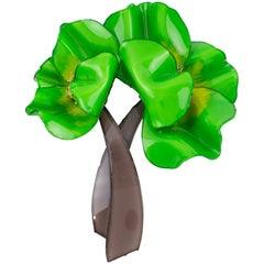 Cilea Paris Oversized Resin Pin Brooch Green Poppy Flower