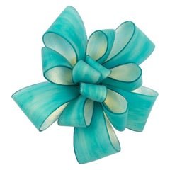 Cilea Paris Oversized Turquoise Resin Ribbon Pin Brooch