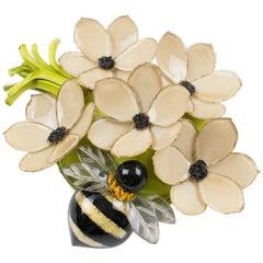 Cilea Paris Signed Resin Pin Brooch Nude Color Nasturtium Flowers with Honey-Bee