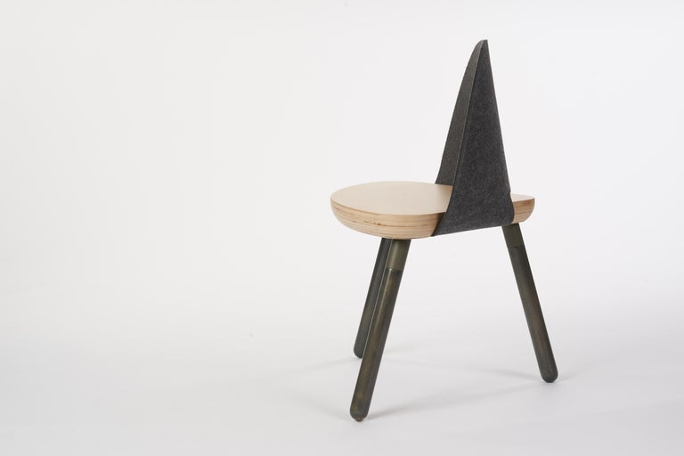 Legs: All natural Canadian maple or walnut hardwood legs Custom eco-friendly matted powder coated finish base frame  Seat: 5 axis CNC construction. Hand stained solid Canadian baltic birch ply seat, Hand-stained solid natural canadian maple or