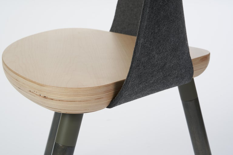 Scandinavian Modern Cinch Chair, Melton Wool, Wood Seat and Eco-Friendly Powder Coated Steel Support For Sale