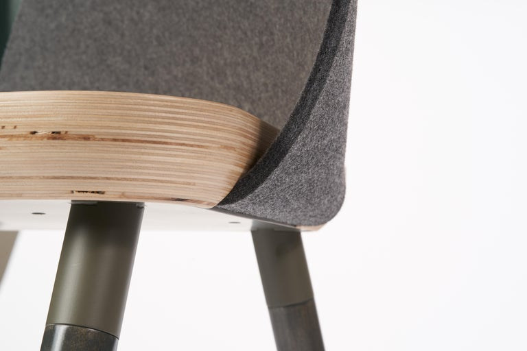 Hand-Painted Cinch Chair, Melton Wool, Wood Seat and Eco-Friendly Powder Coated Steel Support For Sale
