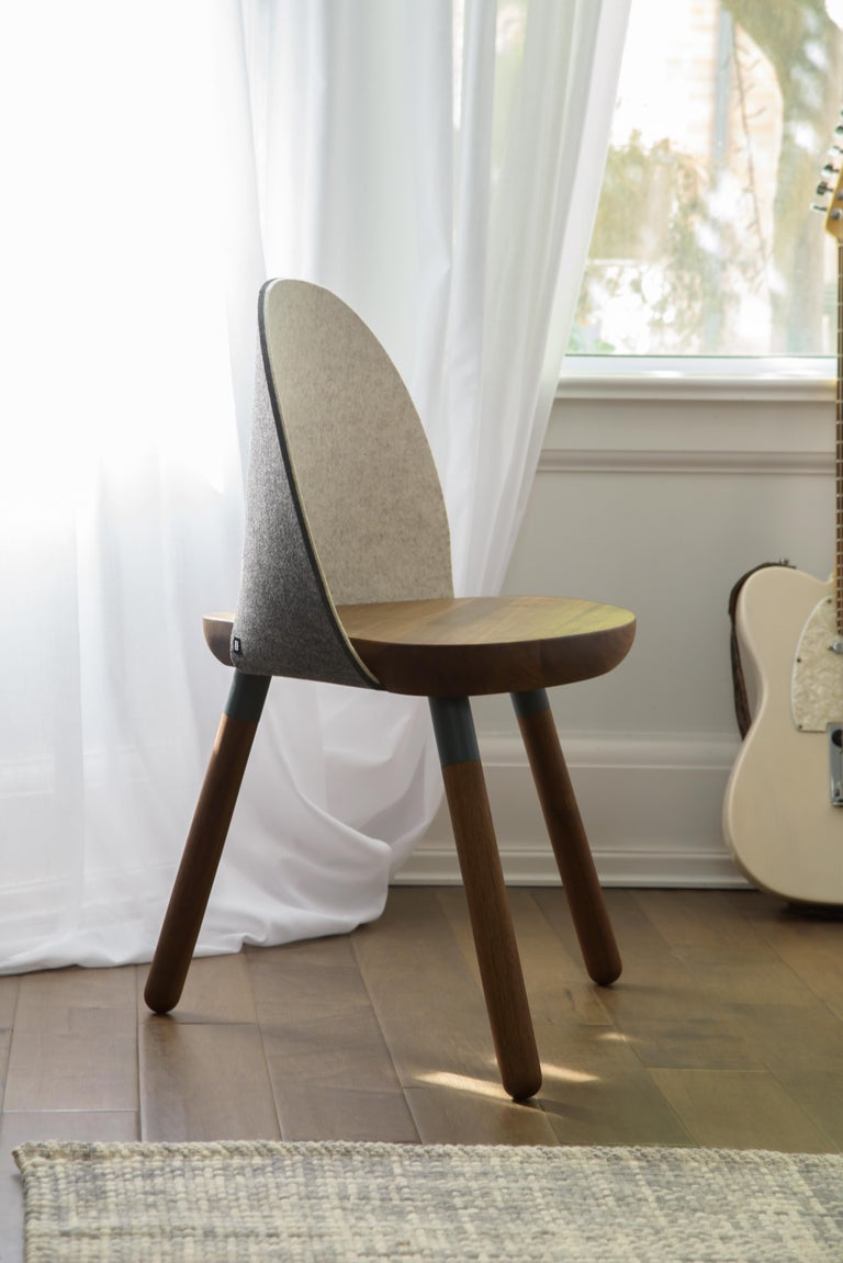Cinch Chair, Melton Wool, Wood Seat and Eco-Friendly Powder Coated Steel Support In New Condition For Sale In Woodbridge, Ontario