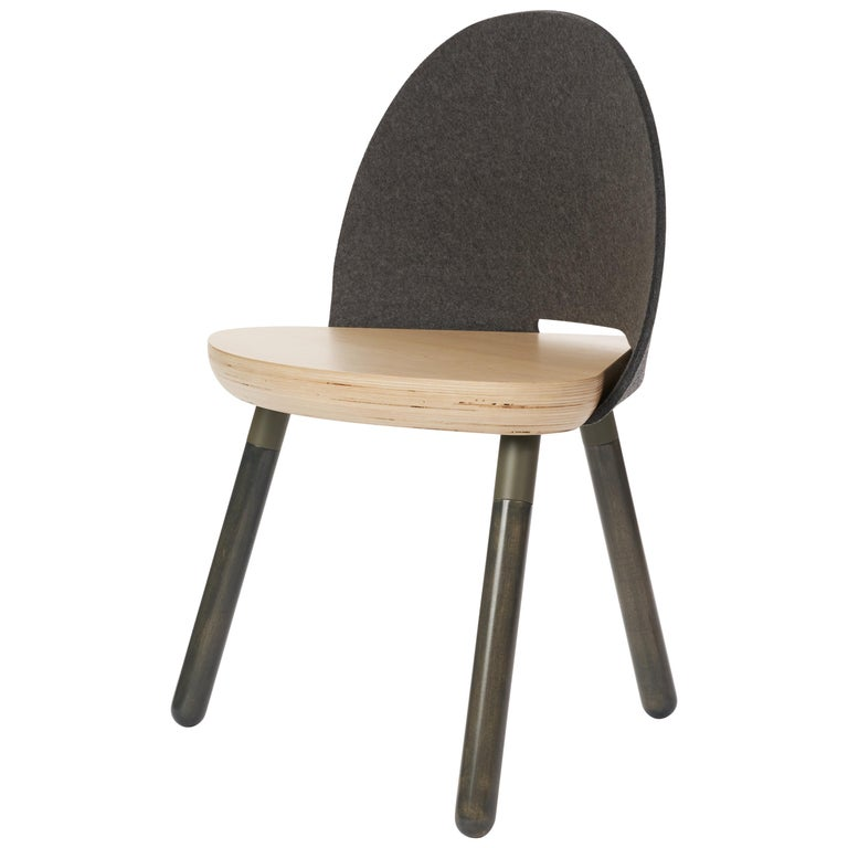 Cinch Chair, Melton Wool, Wood Seat and Eco-Friendly Powder Coated Steel Support For Sale
