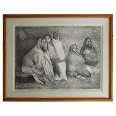 Cinco Mujeres Sentadas, Lithograph by Francisco Zuniga