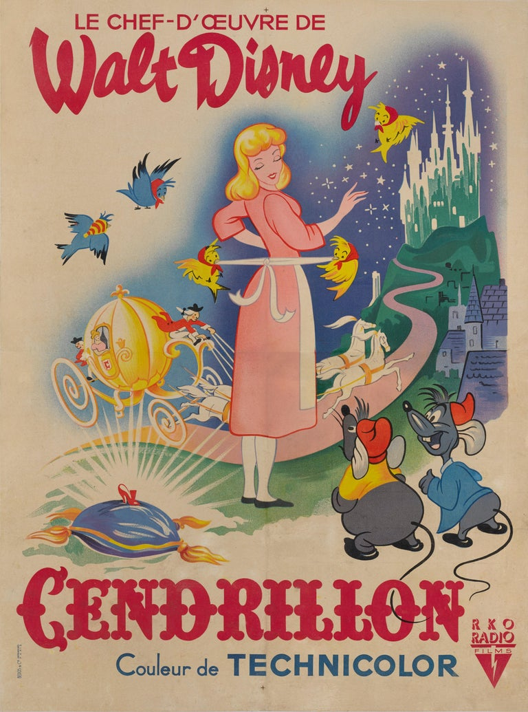Original French film poster, for Walt Disney's 1950 animation. The poster was folded after printing as was all French film posters of this age. This poster is conservation Linen backed and would be sent out rolled on a strong tube.