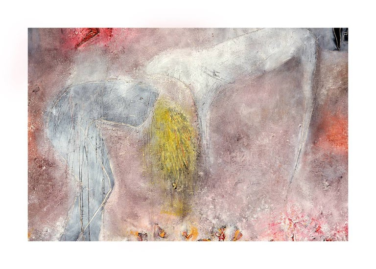 Woman, Dog & Spring Flowers Figurative Abstract with Petroglyphs  - Abstract Expressionist Painting by Cindy Kane