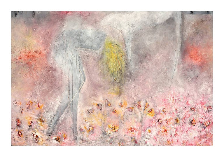 Woman, Dog & Spring Flowers Figurative Abstract with Petroglyphs  - Beige Figurative Painting by Cindy Kane