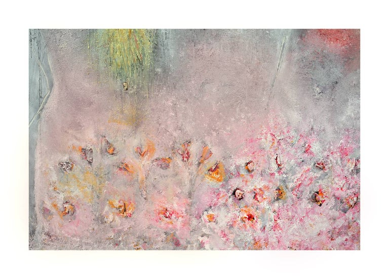 Woman, Dog & Spring Flowers Figurative Abstract with Petroglyphs  For Sale 1