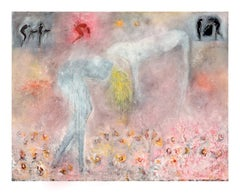 Woman, Dog & Spring Flowers Figurative with Petroglyphs